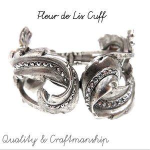 Stunning Fleur De Lis Cuff Ant.Silver,NWT